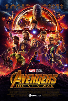 This is a poster for Avengers: Infinity War. The poster art copyright is believed to belong to the distributor of the film, Walt Disney Studios Motion Pictures, the publisher, Marvel Studios, or the graphic artist.