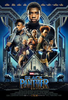 This is a poster for Black Panther. The poster art copyright is believed to belong to the distributor of the film, Walt Disney Studios Motion Pictures, the publisher, Marvel Studios, or the graphic artist.