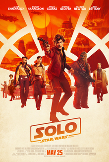 This is a poster for Solo: A Star Wars Story. The poster art copyright is believed to belong to the distributor of the film, the publisher of the film or the graphic artist.