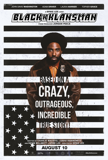 This is a poster for BlacKkKlansman. The poster art copyright is believed to belong to the distributor of the item promoted, the publisher of the item promoted or the graphic artist