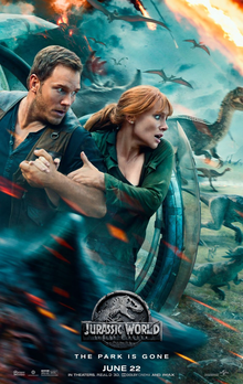 This is a poster for Jurassic World: Fallen Kingdom. The poster art copyright is believed to belong to the distributor of the film, the publisher of the film or the graphic artist.