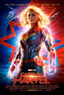 This is a poster for Captain Marvel. The poster art copyright is believed to belong to the distributor of the film, Walt Disney Studios Motion Pictures, the publisher, Marvel Studios, or the graphic artist.