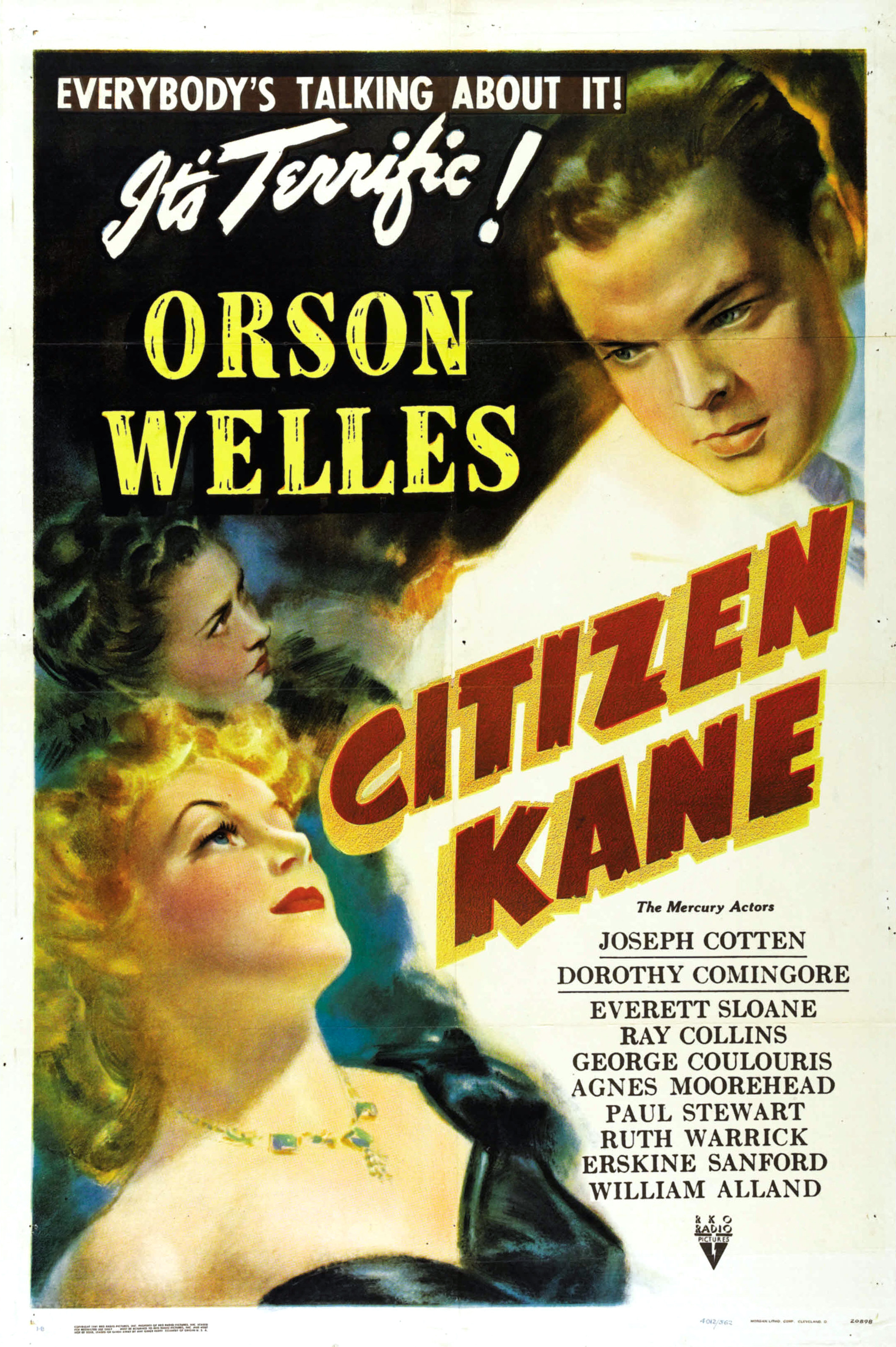"""Theatrical poster for the American release of the 1941 film Citizen Kane. This design is designated """"Style B"""". This image is a scan of an unrestored original poster."""